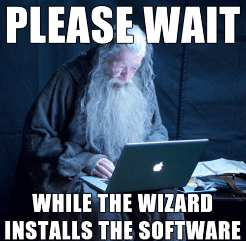 Photo caption PLEASE WAIT WHILE THE WIZARD INSTALLS THE SOFTWARE
