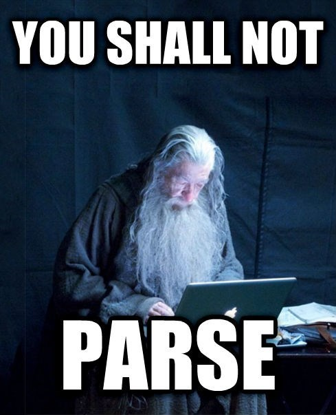 Photo caption - YOU SHALL NOT PARSE