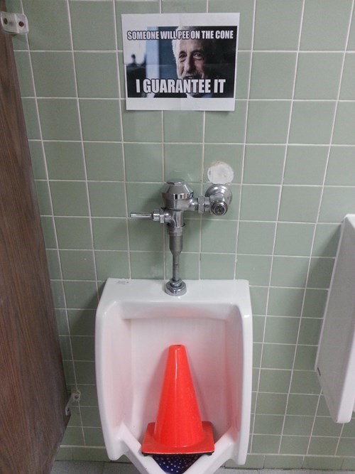 monday thru friday traffic cone urinal work monday trhu friday g rated