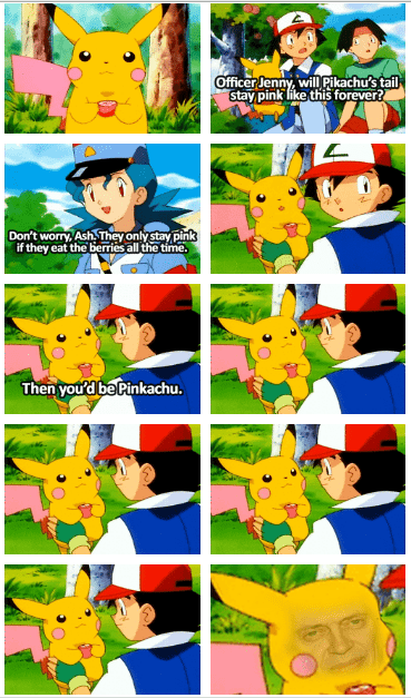 pinkachu Pokémon anime drying pan puns pikachu