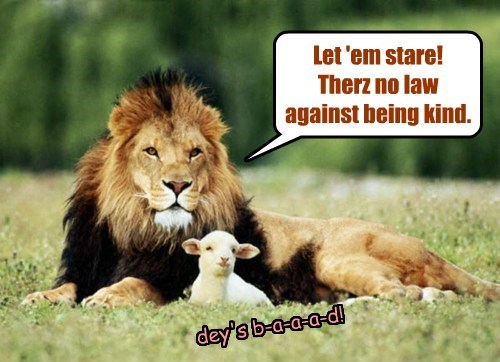 Let 'em stare! Therz no law against being kind. dey's b-a-a-a-d!