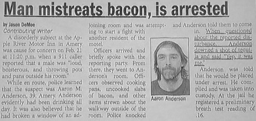 headline Probably bad News bacon newspaper - 8110714368