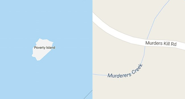depressing names on maps