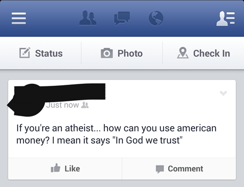 facepalm atheism money - 8111759104