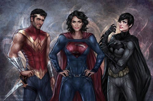 Fan Art wonder woman batman superman - 8111907072