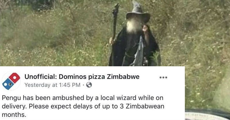 Funny tweets and FB post from Domin's pizza Zimbabwe which is a novelty twitter account poking fun at African stereotypes