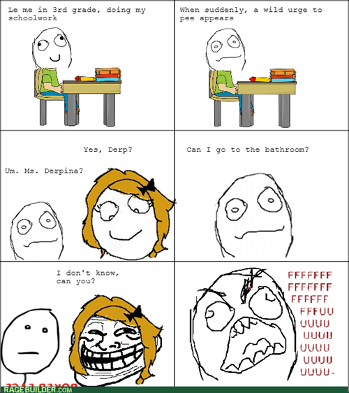 rage,trollface,school,kids,teacher,bathroom