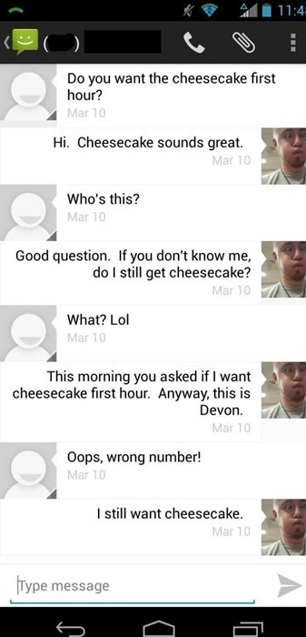 cake,wrong number,texting