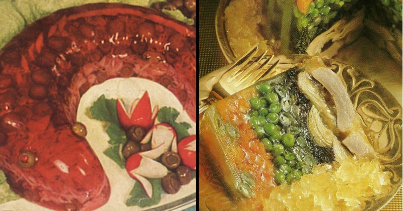 Jello 50s meals 60s gross 1950s cringe recipe lol disgusting food funny - 8114181