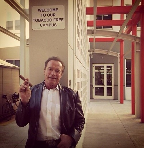 Arnold Schwarzenegger,facebook,no smoking,signs