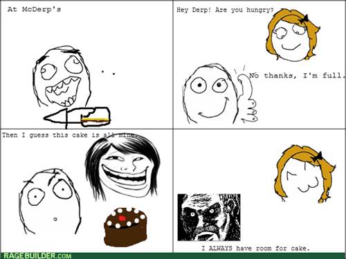cake trollface food eating
