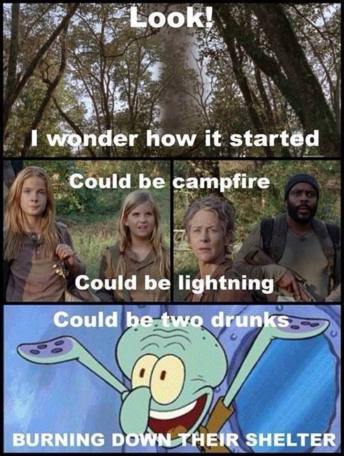 fire,squidward,The Walking Dead