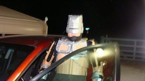 costume,poorly dressed,duct tape,robocop,cardboard,g rated