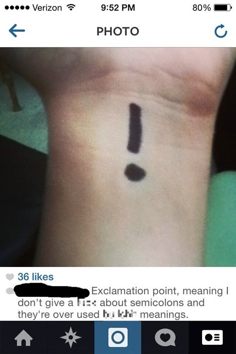 tattoos exclamation punctuation - 8120858368