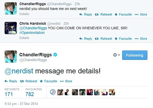 chris hardwick,chandler riggs,nerdist,celebrity twitter