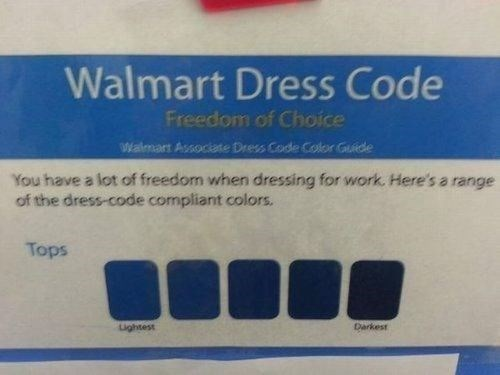 walmart dress code,freedom,Walmart