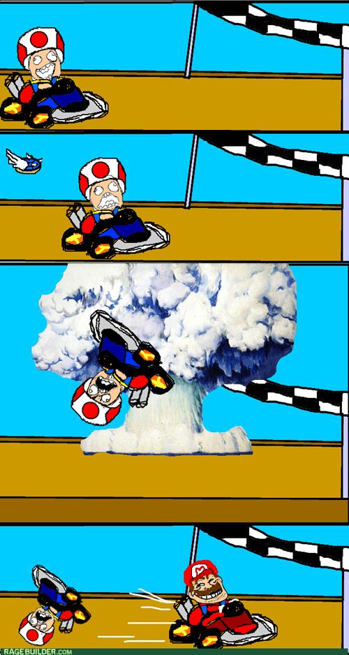 blue shell,mario,Mario Kart,rage,toad