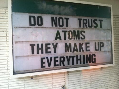 atoms funny science sign - 8122919424