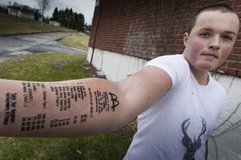 fast food McDonald's receipt tattoos fail nation g rated - 8123211008