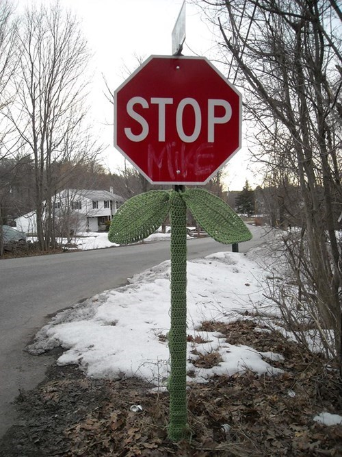 stop sign sign Knitta Please yarn yarn bombing g rated win - 8123311616