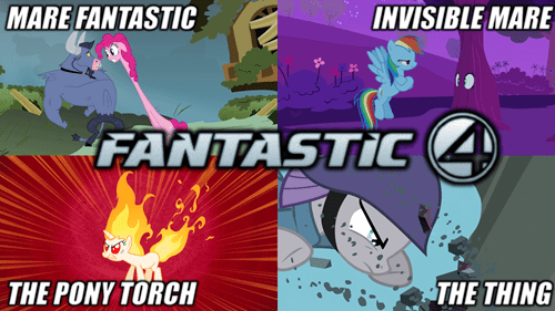 twilight sparkle,pinkie pie,fantastic 4,maud pie,fluttershy