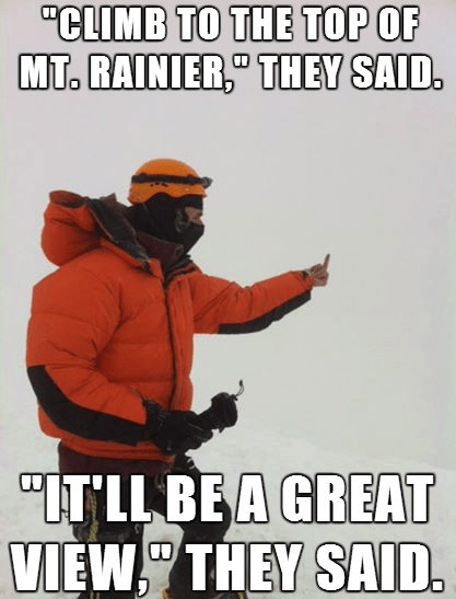 bad luck mountain climber mount rainier mountain climbing - 8124154368