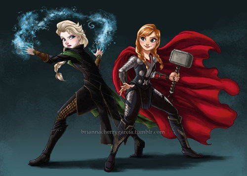 loki,Thor,Fan Art,frozen