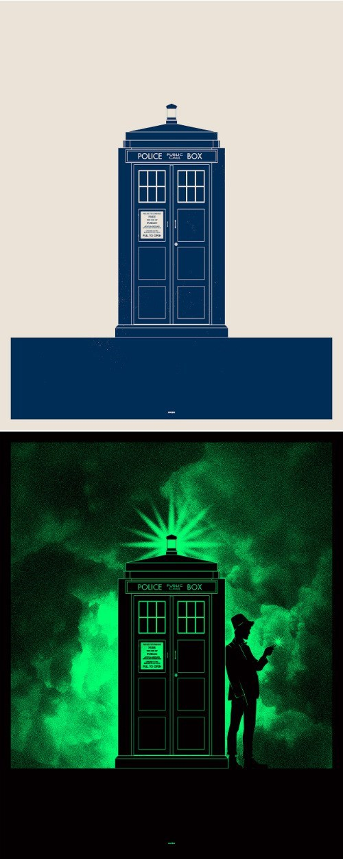 doctor who glow in the dark print tardis - 8124319744
