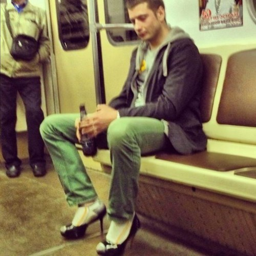 heels,poorly dressed,Subway