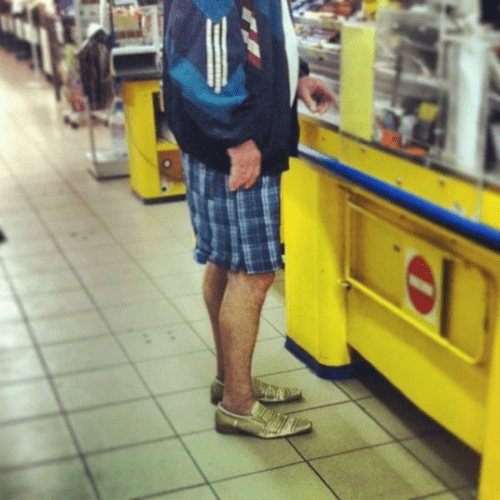 shorts,shoes,poorly dressed