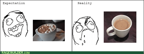 hot chocolate,marshmallows,cocoa,expectation vs reality