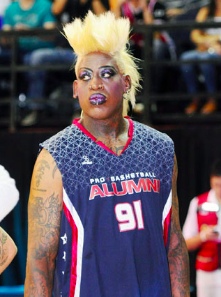 poorly dressed Dennis Rodman basketball