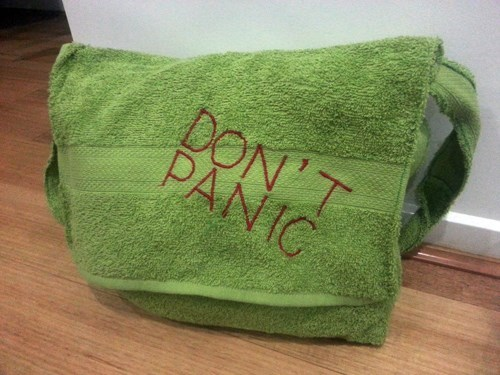 towel Hitchhikers Guide To the Galaxy DIY dont-panic - 8129746944