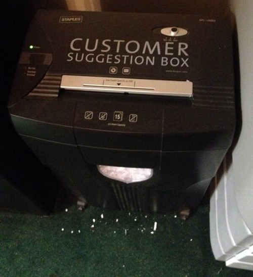 monday thru friday customer service work customers suggestion paper shredder - 8129854976