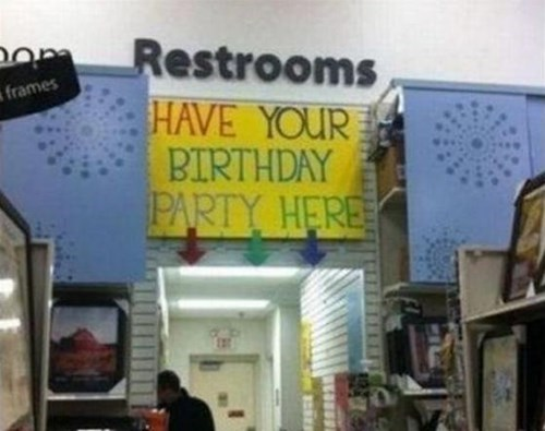 birthday parties,restrooms