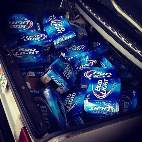 bud light beer loaded trunk funny - 8130156544