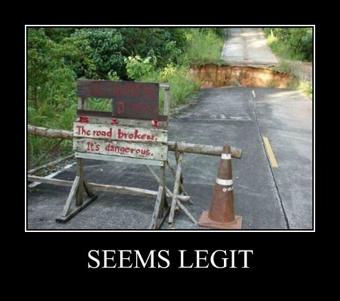 sign road wtf hole funny seems legit - 8131067136