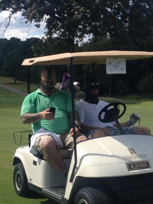 golf poorly dressed bane batman