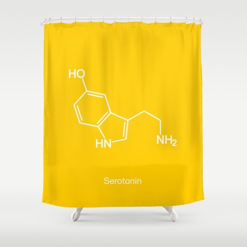 serotonin shower curtain science funny - 8131292928