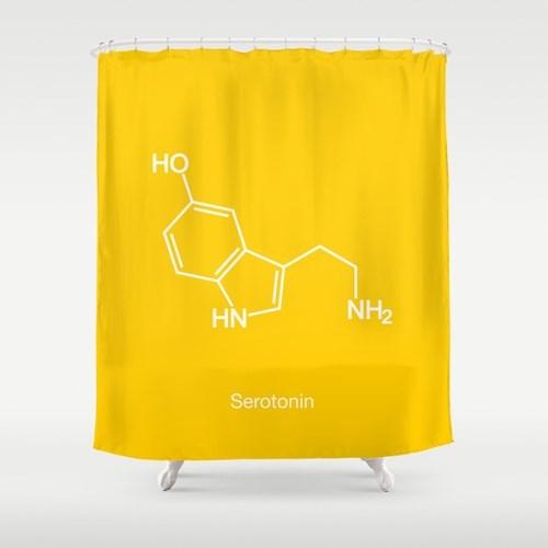 serotonin shower curtain science funny - 8131292928