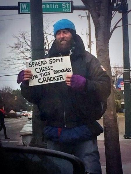 clever,homeless,sign,g rated,win