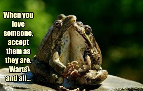 When you love someone, accept them as they are. Warts and all...