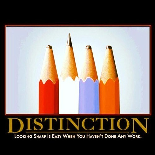 distinction,sharp,funny,hard work