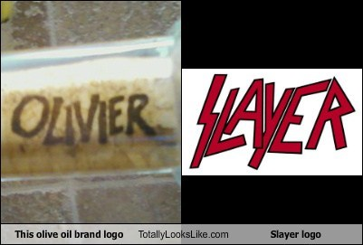 This olive oil brand logo Totally Looks Like Slayer logo