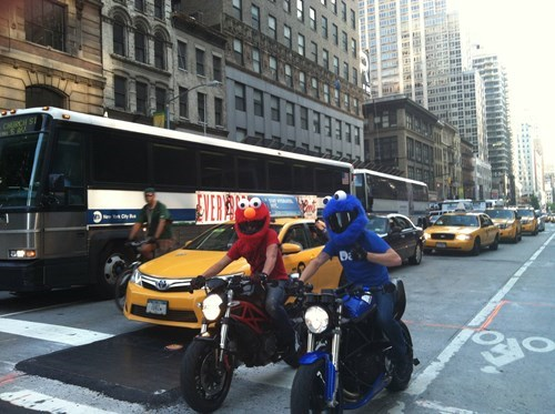 Cookie Monster,poorly dressed,helmet,elmo,motorcycle