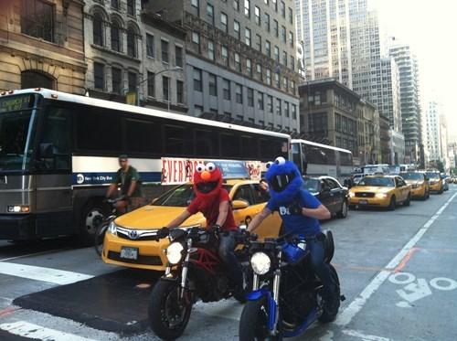 Cookie Monster poorly dressed helmet elmo motorcycle - 8134155776