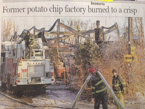newspapers,headlines,potato chip factory