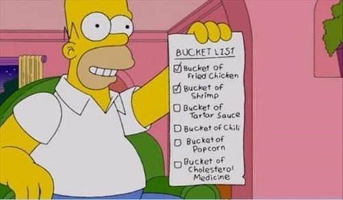 bucket list,funny,the simpsons,homer simpson