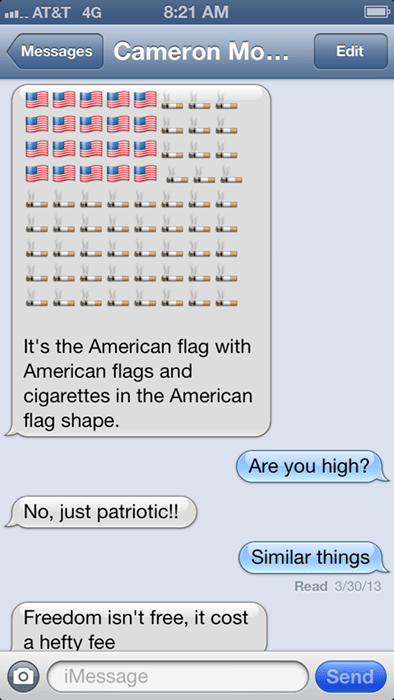 cigarettes,emojis,flags,texting,old glory