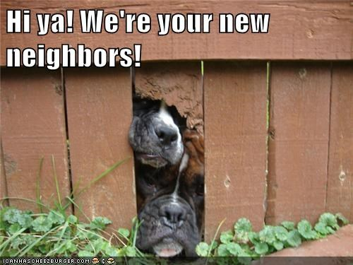 Hi ya! We're your new neighbors!